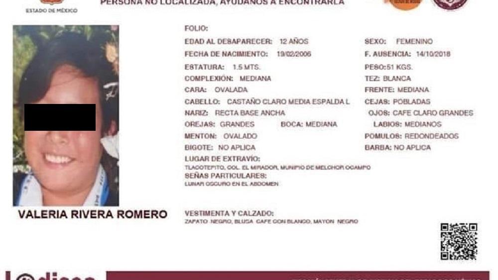 Alerta Odisea de la niña Valeria Rivera, desaparecida en Melchor Ocampo. Foto de FGJEM