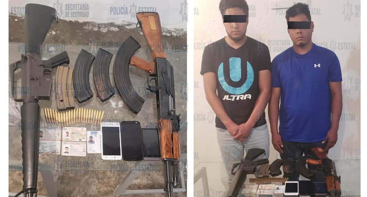Detenidos con objetos asegurados. Foto de @SS_Edomex