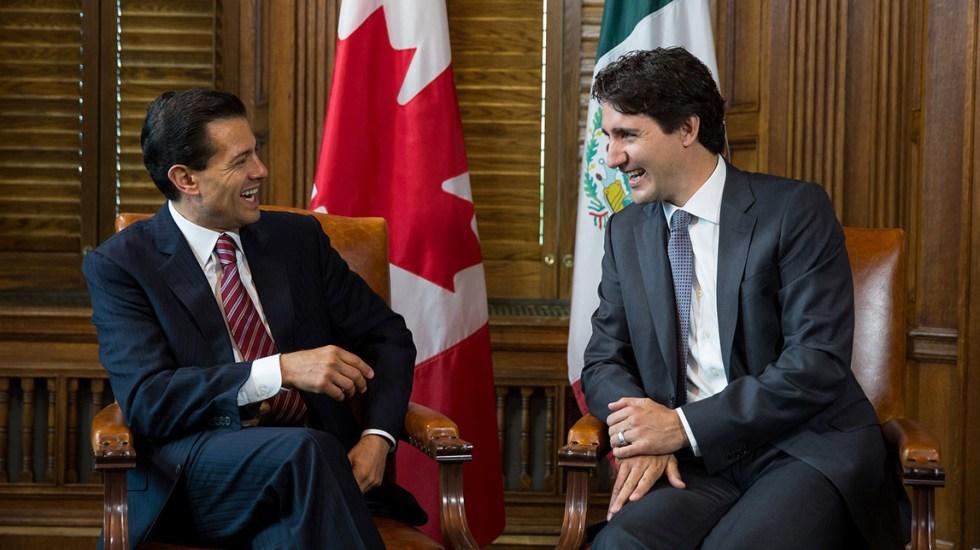 Resultado de imagen para Conversación de Enrique Peña Nieto con Justin Trudeau, sobre T-MEC.}