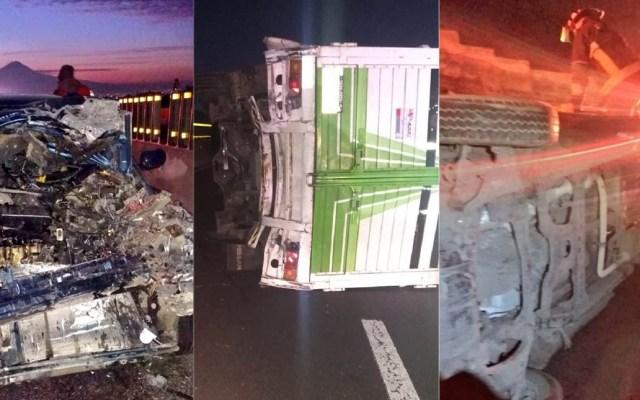 Choque con volcadura deja tres heridos en la México-Puebla - Accidente en la México-Puebla. Foto de @alertasurbanas