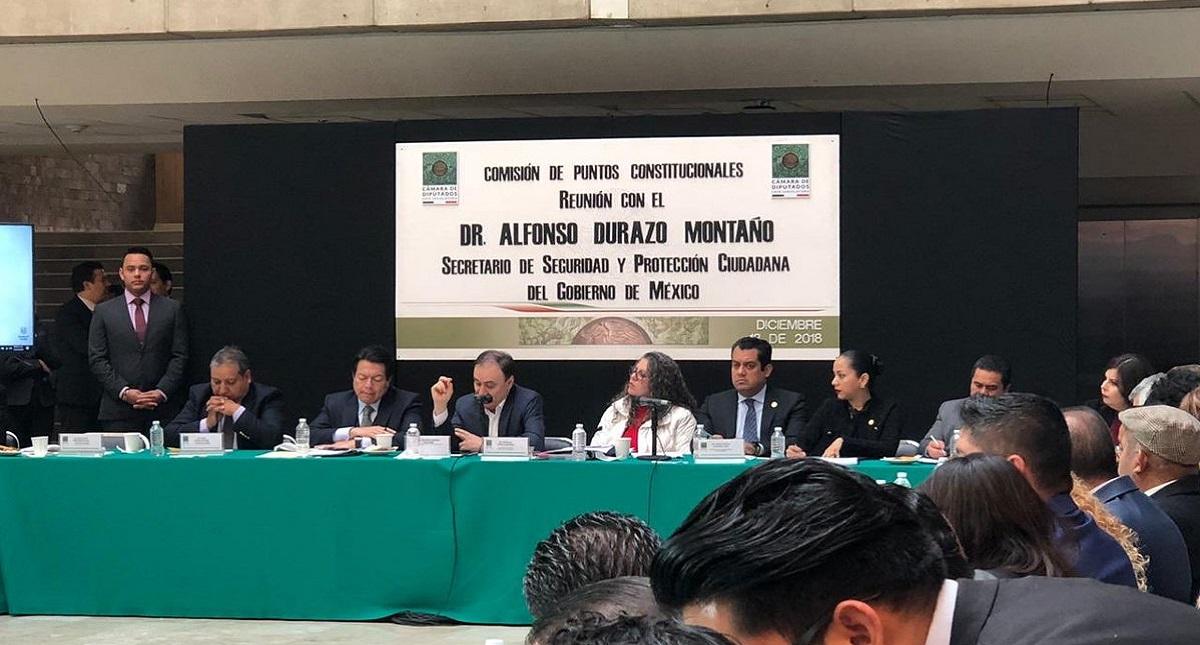 Alfonso Durazo en la Comisión de Puntos Constitucionales. Foto de @GuillenAnaLilia