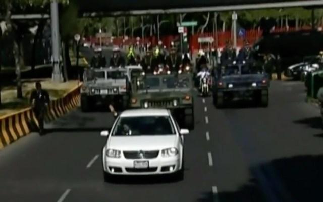 Presidente López Obrador llega a Palacio Nacional