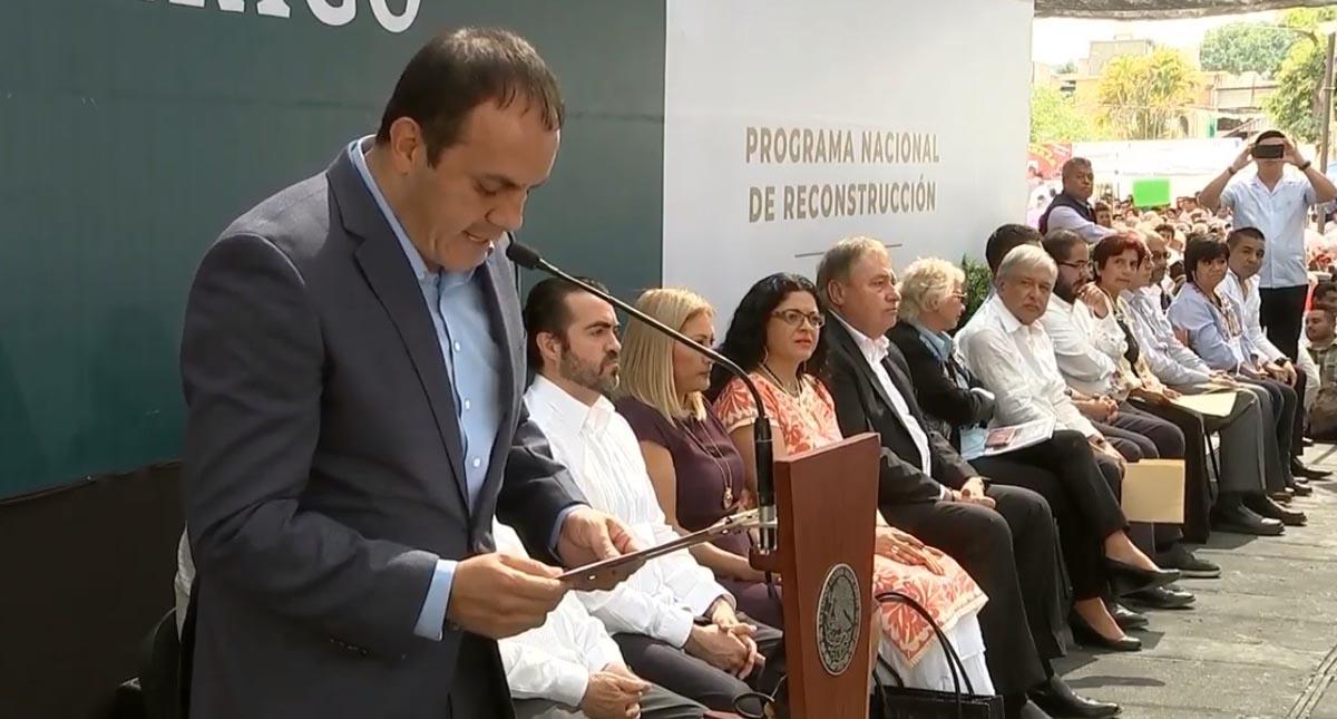 Cuauhtémoc Blanco en la presentación del Plan Nacional de Reconstrucción. Captura de pantalla