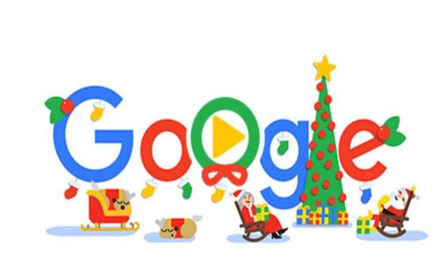 Santa y sus renos descansan en doodle de Google - Doodle de Google para Navidad. Captura de pantalla