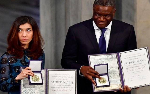 Premios Nobel de la Paz piden por víctimas de la violencia sexual - Premios Nobel de la Paz 2018. Foto de AFP / Tobias Schwarz