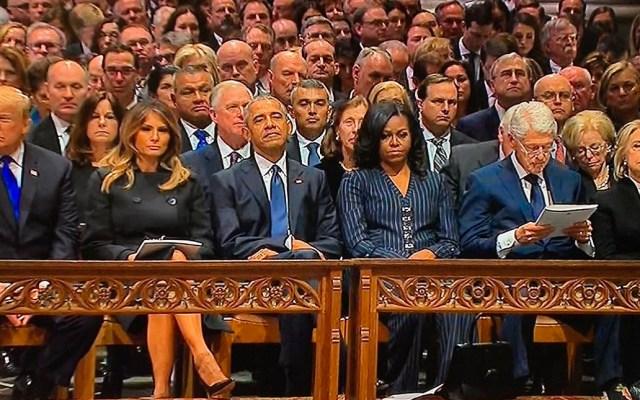 Ex presidentes de EE.UU. dan último adiós a George H. W. Bush - Expresidentes de EE.UU. en funeral de Estado de George HW Bush. Foto de Internet