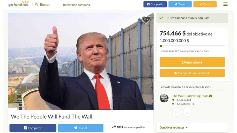 Lanzan campaña en GoFundMe para construir el muro fronterizo