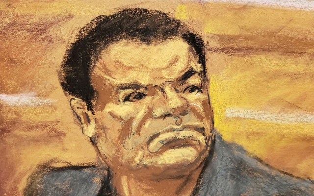 Testigo narra crisis nerviosas tras trabajar para El Chapo - Ilustración de El Chapo durante su juicio. Foto de Twitter