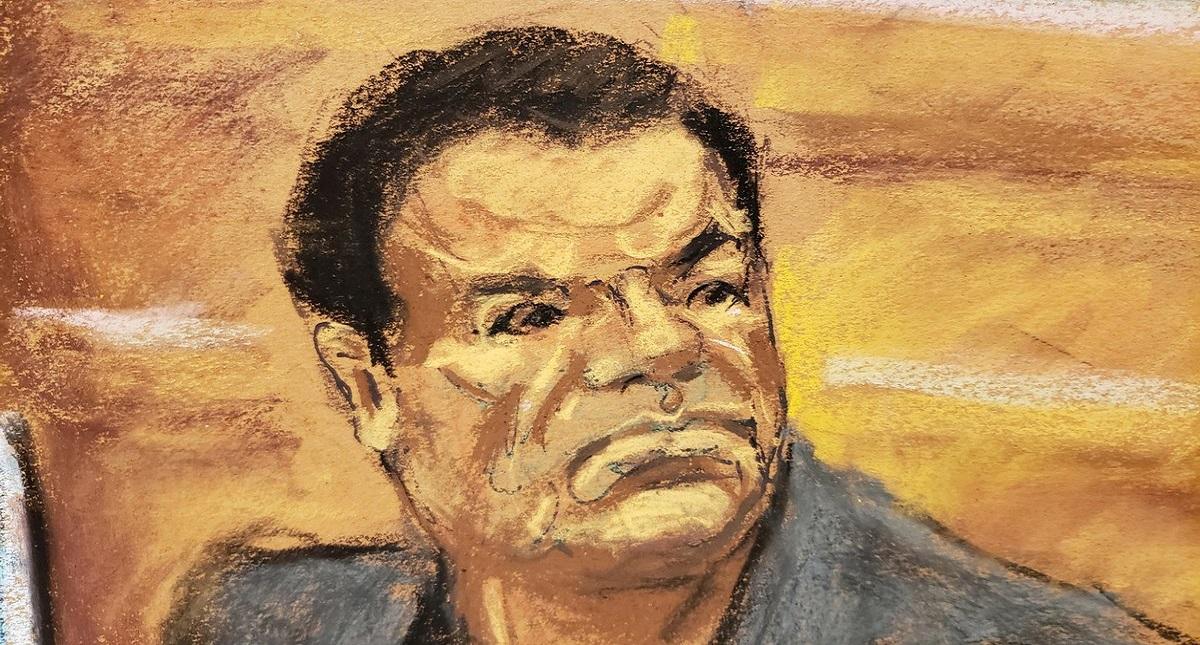 Ilustración de El Chapo durante su juicio. Foto de Twitter