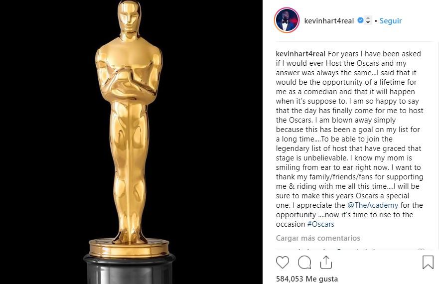 Publicación de Kevin Hart sobre su participación en la edición 91 de los Oscar. Captura de pantalla