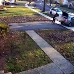#Video Ladrón batalla para llevarse pantalla que acababa de robar - El ladrón tardó varios minutos en lograr que la pantalla cupiera en su auto. Captura de pantalla