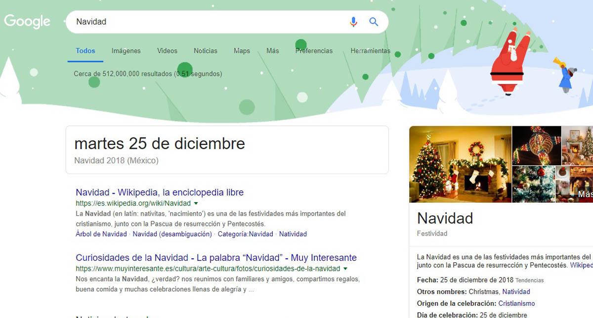 Resultados de búsqueda para Navidad. Captura de pantalla
