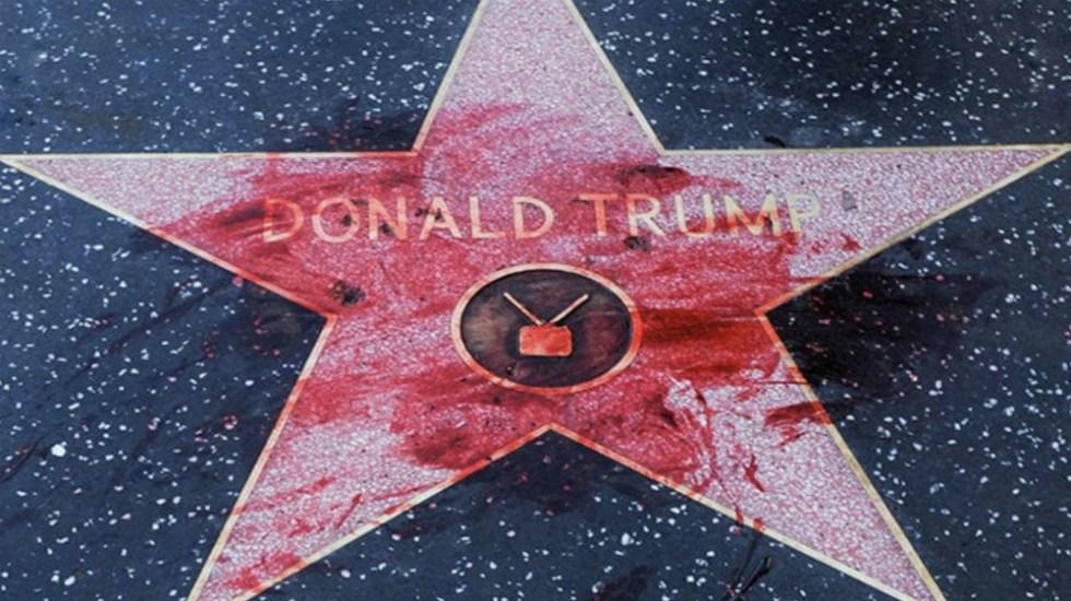 Pintan de rojo la estrella de Donald Trump en Hollywood - Foto de @stonecold2050