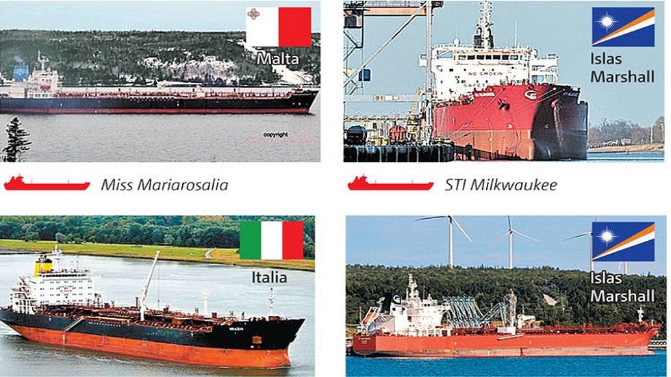 Algunos de los buques extranjeros esperando descargar. Foto de Milenio