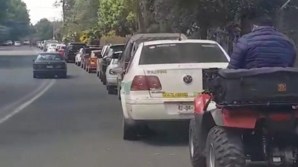 #Video La kilométrica fila para conseguir combustible en Avándaro - Foto de captura de pantalla