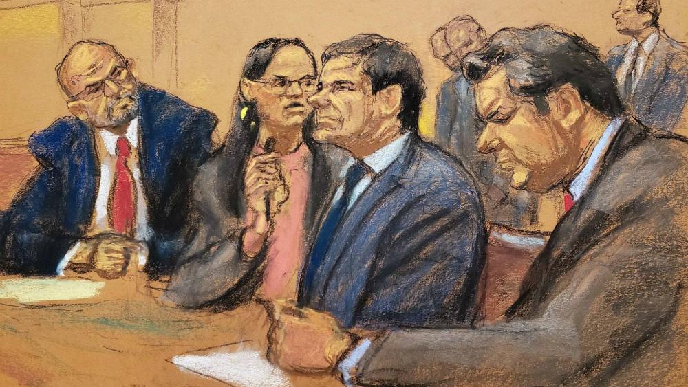 Abogados de 'El Chapo' apelarán la sentencia de cadena perpetua - Ilustración de 'el Chapo' durante su juicio. Foto de EFE