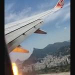 #Video Avión aterriza de emergencia luego de lanzar bolas de fuego del motor