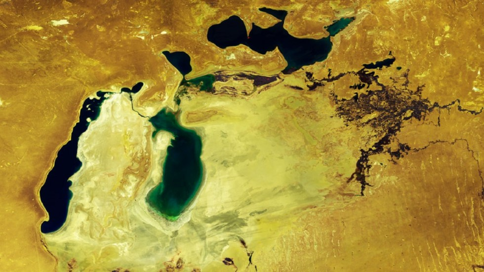 Satélite retrata la conversión en dos lagos del mar de Aral - Imagen del satélite Proba-V. Foto de ESA