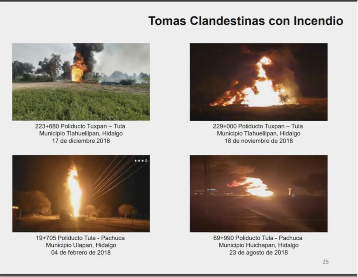 Tomas clandestinas con incendio en Hidalgo. Captura de pantalla