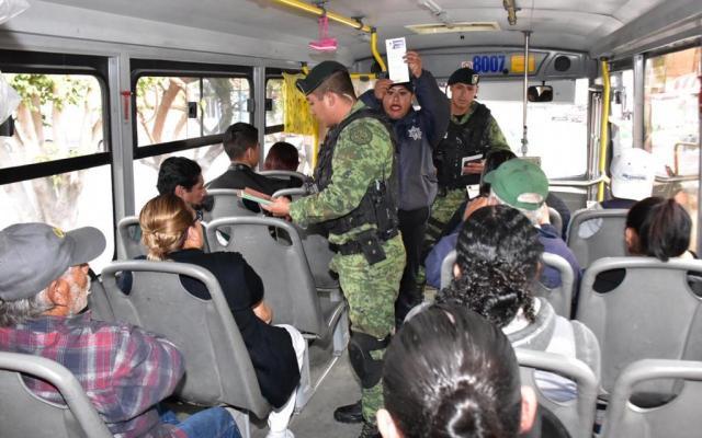 Operativo en el transporte público de San Luis Potosí