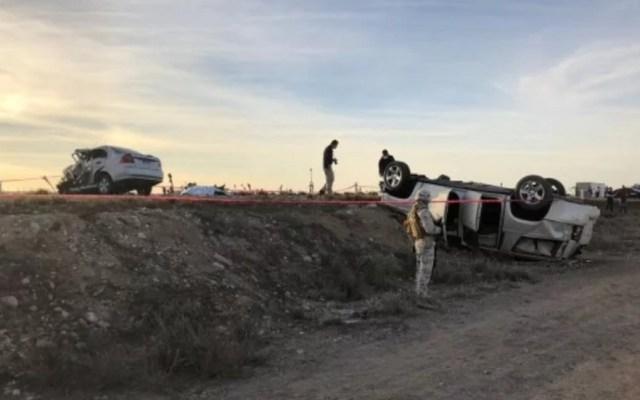 Mueren empleadas del Gobierno de BCS en accidente vial - Accidente sobre la carretera Guerrero Negro-Vizcaíno. Foto de Guerrero de Sal