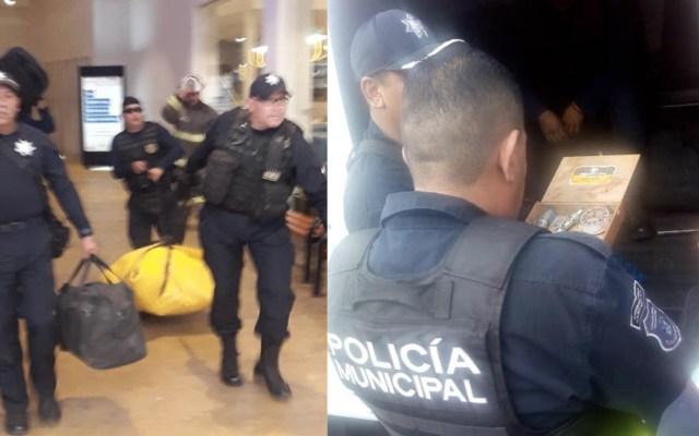 Aseguran y desactivan bomba casera en Mundo E - El Grupo Antibombas de la Policía Estatal desactivó la bomba casera. Foto de Twitter