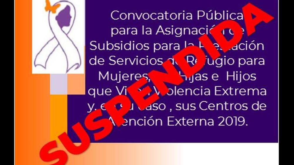 Suspenden convocatoria de subsidios de refugio para mujeres
