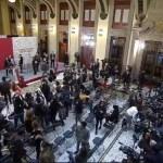 #Video Suena Alerta Sísmica durante conferencia de AMLO