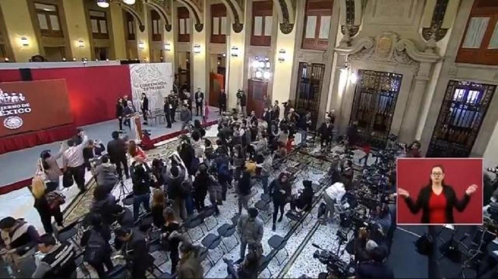 #Video Suena Alerta Sísmica durante conferencia de AMLO - Desalojo de Palacio Nacional. Captura de pantalla