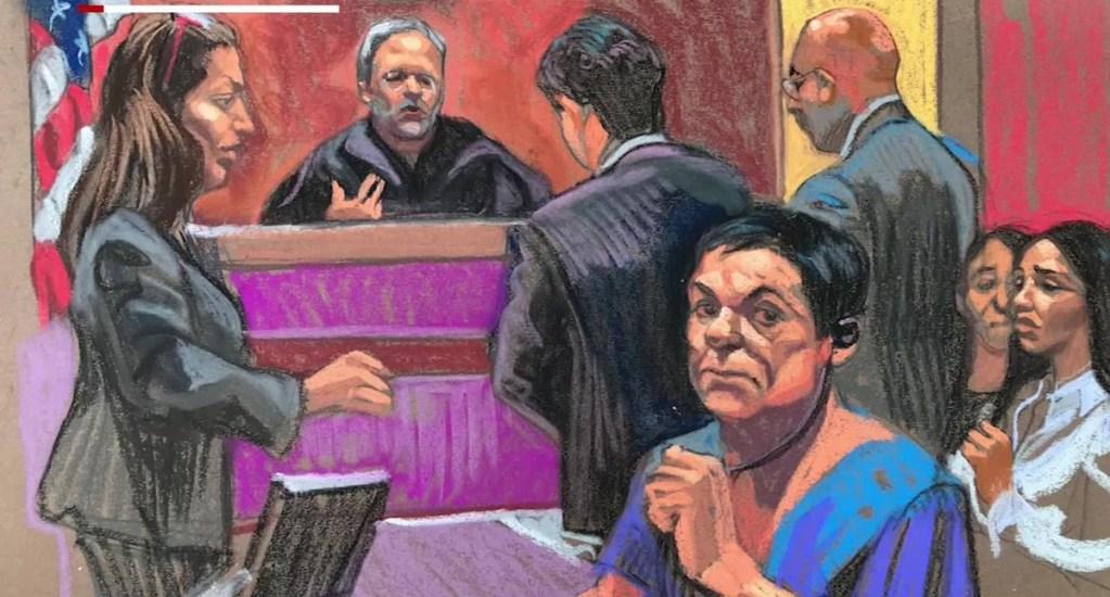 Veredicto contra 'el Chapo' Guzmán está justificado: Renato Sales - Dibujo de una audiencia de 'el Chapo' Guzmán. Foto tomada de CNN