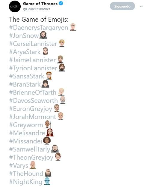 Emojis de los personajes de Game of Thrones. Captura de pantalla