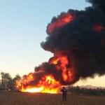 Incendio en ducto de Pemex en Puebla - Foto de @PC_Estatal