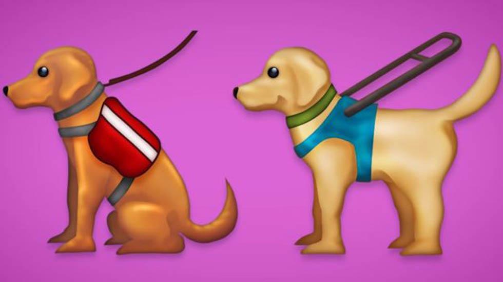 Perros de servicio y lazarillo. Foto de Emojipedia