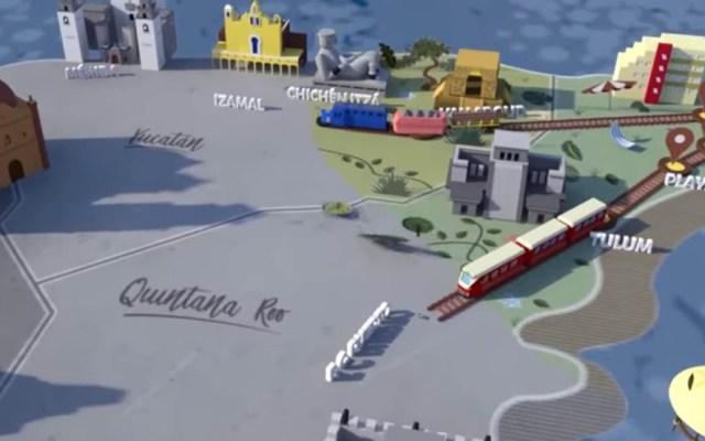 Tren Maya regresa a ruta original por problemas de subsuelo y zonas arqueológicas - Proyección del Tren Maya. Captura de pantalla