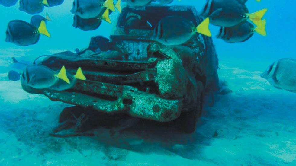 Limpian desechos del huracán Odile en mar de BCS - Auto en el fondo marino de Cabo San Lucas. Foto de Milenio