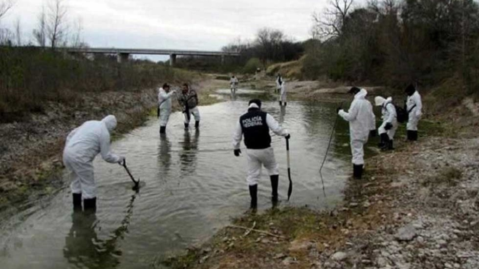 Búsqueda de restos humanos calcinados en el Río San Rodrigo. Foto de Valor Tamaulipeco
