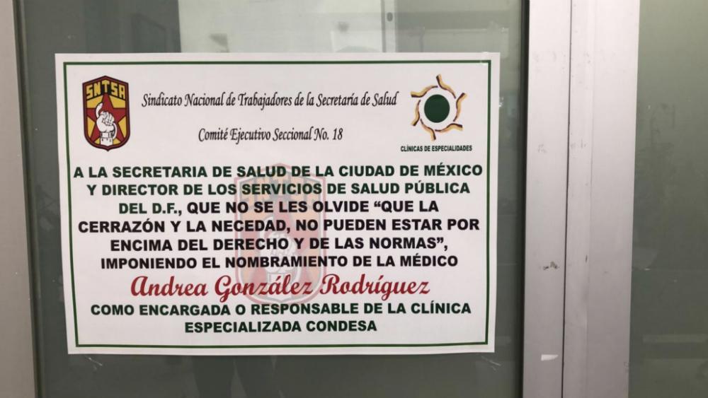 Clínica Condesa en conflicto con Sindicato por vacantes