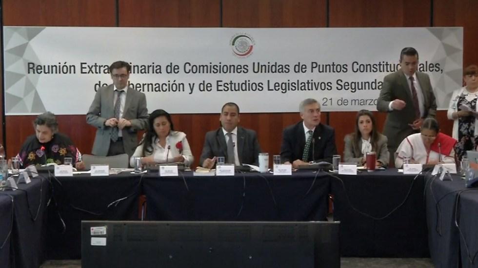 Aprueban eliminación de fuero presidencial en comisiones del Senado - Comisiones del Senado que discutieron eliminación del fuero. Captura de pantalla