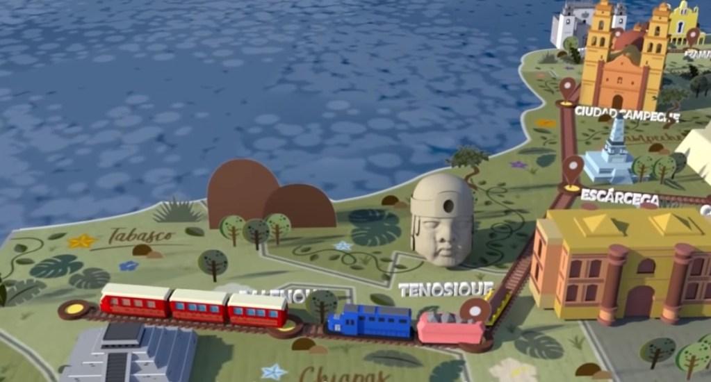 AMLO descarta que costo del Tren Maya se eleve - El Tren Maya abarcará cinco estados. Captura de pantalla