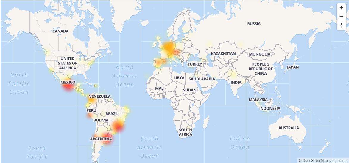 Fallas en WhatsApp detectadas a nivel mundial. Foto de Downdetector