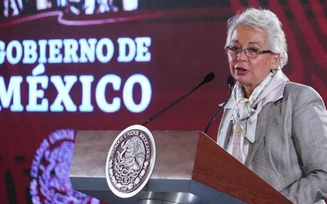 Segob denuncia a agentes de migración por extorsión - Sánchez Cordero en conferencia matutina. Foto de @SEGOB_mx
