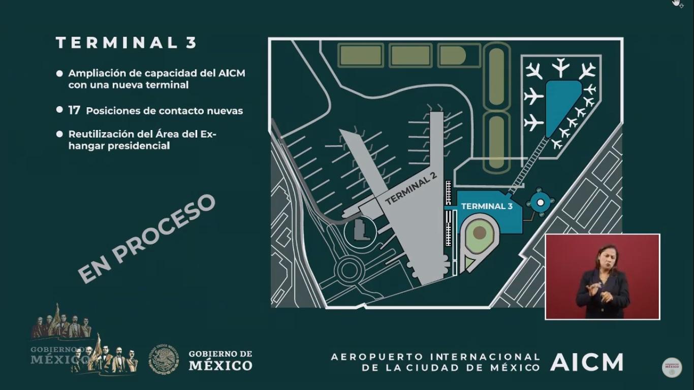 Proyecto de Terminal 3 en el AICM. Captura de pantalla