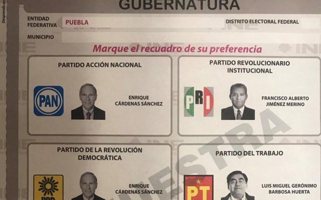 Así será la boleta en la elección extraordinaria de Puebla - Foto de INE