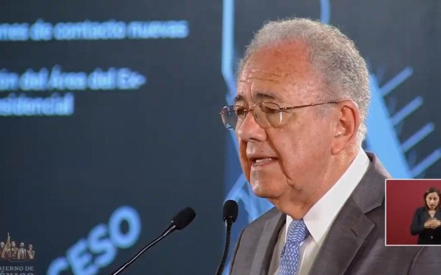 SCT explica las razones por las que se canceló el NAIM - Jiménez Espriú en conferencia de prensa de AMLO. Captura de pantalla