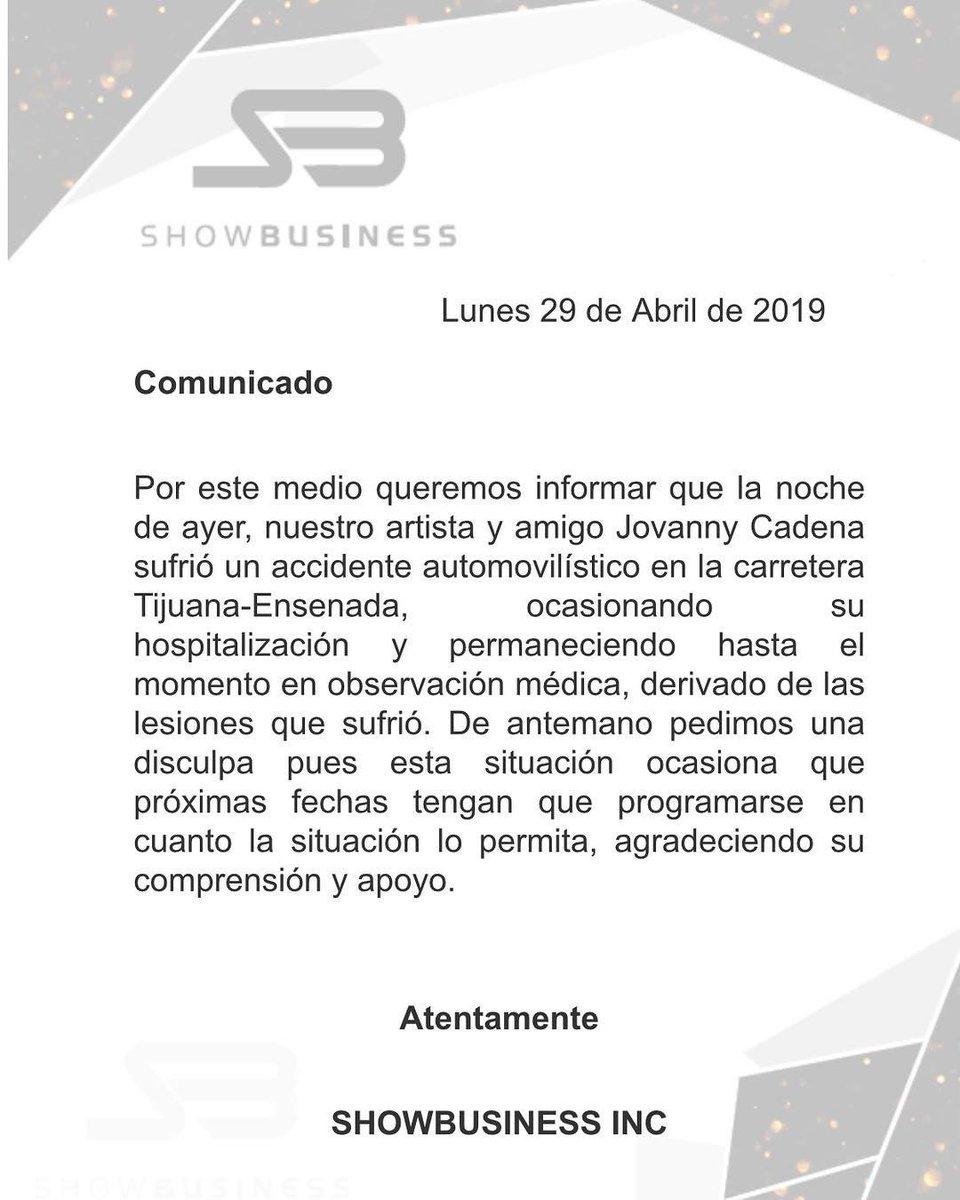 El mensaje de Showbusiness, Inc. sobre el accidente de Jovaanny Cadena.