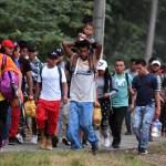 Conferencia de prensa: Olga Sánchez Cordero y Marcelo Ebrard - Nueva caravana de migrantes hondureños. Foto de AFP / Orlando Sierra