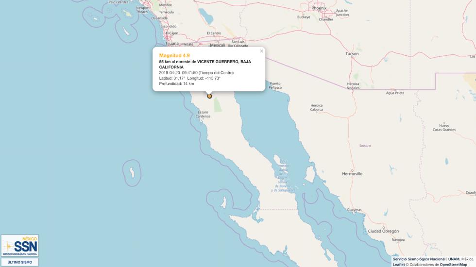 Sismo magnitud 4.9 se percibe en Baja California