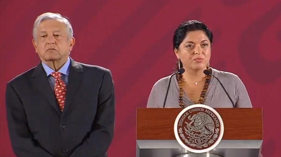 Secretaría de Cultura niega evento religioso en Bellas Artes - Alejandra Frausto en la conferencia de prensa de AMLO. Captura de pantalla