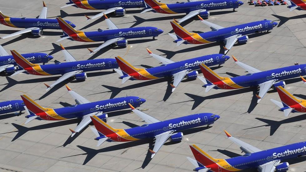 Boeing reconoce defectos en software del simulador de vuelo del 737 MAX - Boeing 737 MAX de SouthWest. Foto de Mark RALSTON / AFP