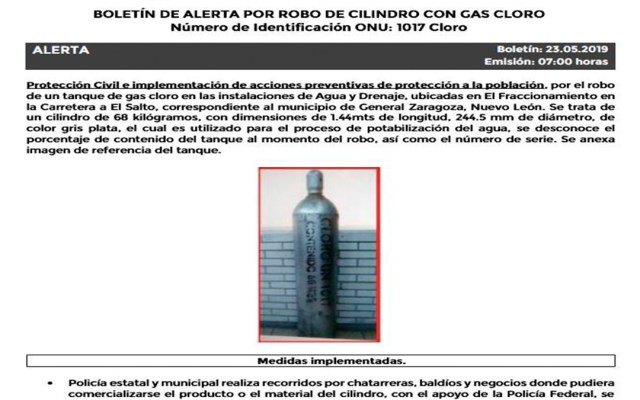 Alertan por robo de cilindro con gas tóxico en Nuevo León - robo tanque gas cloro nuevo león